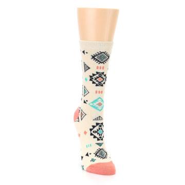 Image of Coral Tan Diamonds Tribal Pattern Women's Dress Socks (side-1-front-03)