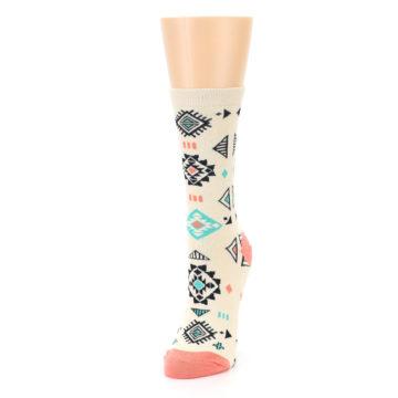 Image of Coral Tan Diamonds Tribal Pattern Women's Dress Socks (side-2-front-07)