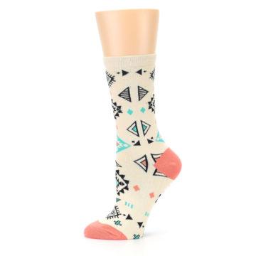 Image of Coral Tan Diamonds Tribal Pattern Women's Dress Socks (side-2-11)