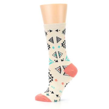 Image of Coral Tan Diamonds Tribal Pattern Women's Dress Socks (side-2-12)