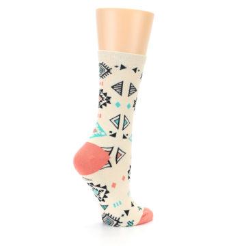 Image of Coral Tan Diamonds Tribal Pattern Women's Dress Socks (side-1-23)