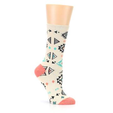 Image of Coral Tan Diamonds Tribal Pattern Women's Dress Socks (side-1-26)