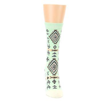 Image of Mint Black Tribal Pattern Women's Dress Socks (front-04)