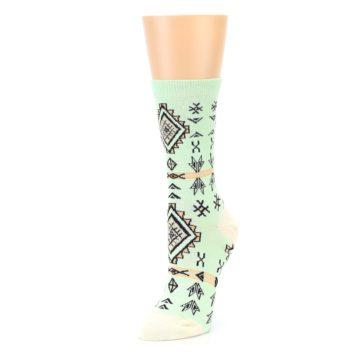 Image of Mint Black Tribal Pattern Women's Dress Socks (side-2-front-08)