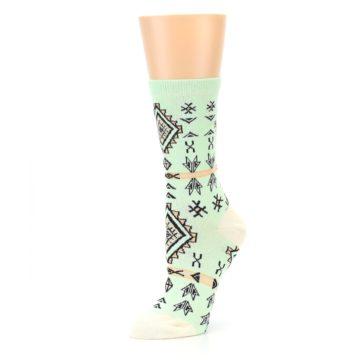 Image of Mint Black Tribal Pattern Women's Dress Socks (side-2-09)