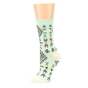 Image of Mint Black Tribal Pattern Women's Dress Socks (side-2-10)