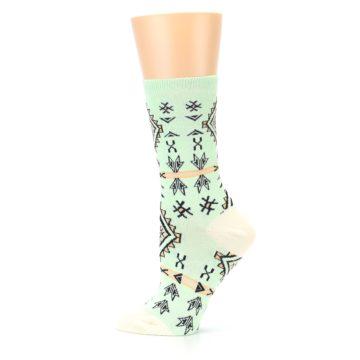 Image of Mint Black Tribal Pattern Women's Dress Socks (side-2-12)