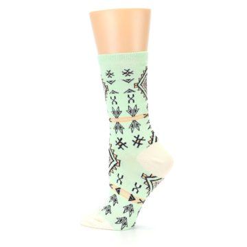 Image of Mint Black Tribal Pattern Women's Dress Socks (side-2-13)