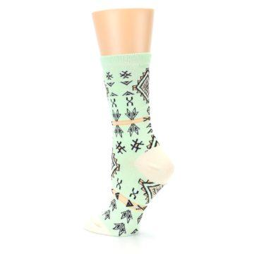 Image of Mint Black Tribal Pattern Women's Dress Socks (side-2-back-14)