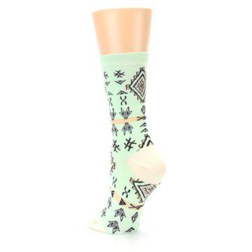 Image of Mint Black Tribal Pattern Women's Dress Socks (side-2-back-15)