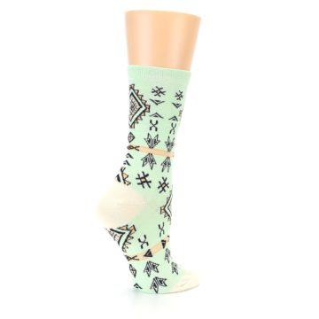Image of Mint Black Tribal Pattern Women's Dress Socks (side-1-23)