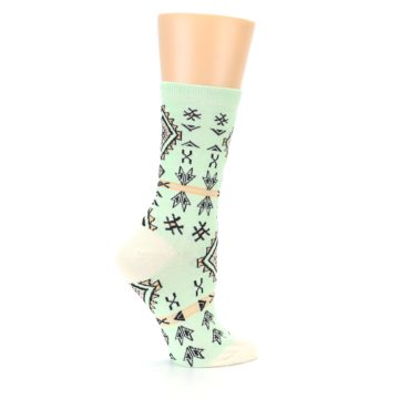 Image of Mint Black Tribal Pattern Women's Dress Socks (side-1-24)