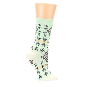 Image of Mint Black Tribal Pattern Women's Dress Socks (side-1-25)
