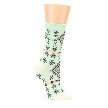 Image of Mint Black Tribal Pattern Women's Dress Socks (side-1-26)