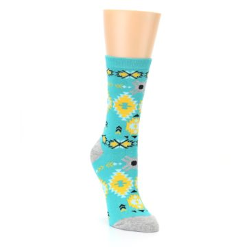 Image of Teal Yellow Grey Patterned Women's Dress Socks (side-1-front-02)