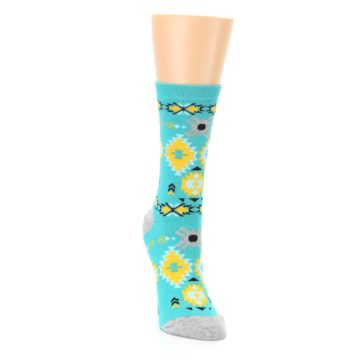 Image of Teal Yellow Grey Patterned Women's Dress Socks (side-1-front-03)