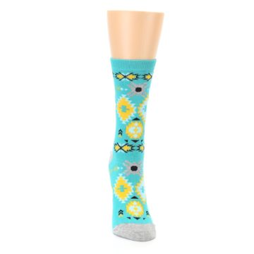 Image of Teal Yellow Grey Patterned Women's Dress Socks (front-04)