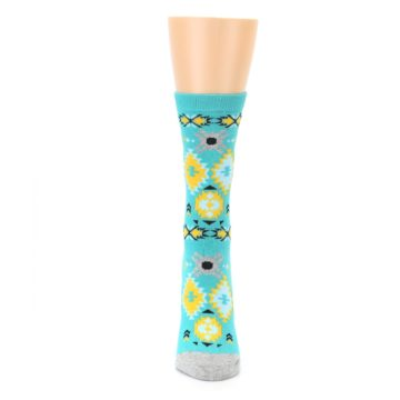 Image of Teal Yellow Grey Patterned Women's Dress Socks (front-05)