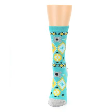 Image of Teal Yellow Grey Patterned Women's Dress Socks (side-2-front-06)