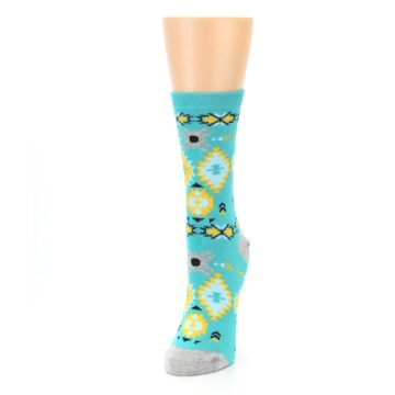 Image of Teal Yellow Grey Patterned Women's Dress Socks (side-2-front-07)