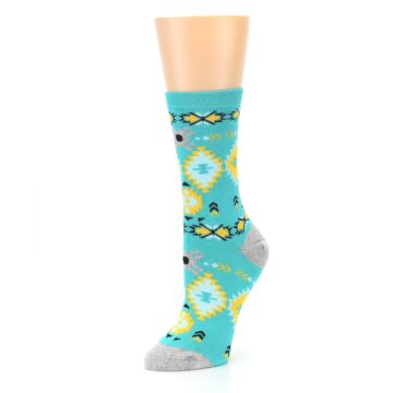 Image of Teal Yellow Grey Patterned Women's Dress Socks (side-2-09)