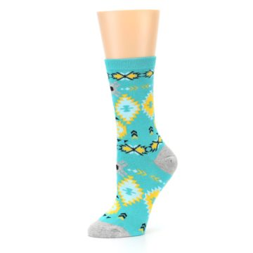 Image of Teal Yellow Grey Patterned Women's Dress Socks (side-2-10)