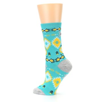 Image of Teal Yellow Grey Patterned Women's Dress Socks (side-2-13)