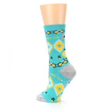 Image of Teal Yellow Grey Patterned Women's Dress Socks (side-2-back-14)
