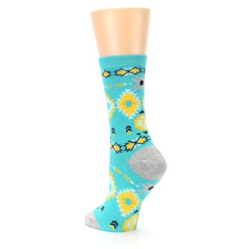 Image of Teal Yellow Grey Patterned Women's Dress Socks (side-2-back-15)