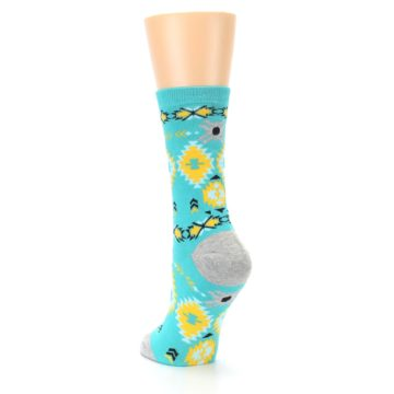 Image of Teal Yellow Grey Patterned Women's Dress Socks (side-2-back-16)