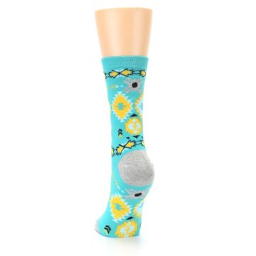 Image of Teal Yellow Grey Patterned Women's Dress Socks (back-17)
