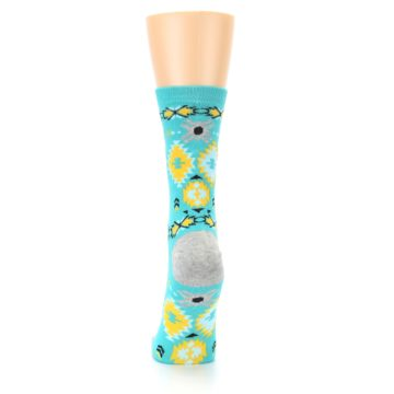 Image of Teal Yellow Grey Patterned Women's Dress Socks (back-18)
