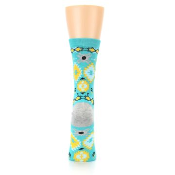 Image of Teal Yellow Grey Patterned Women's Dress Socks (back-19)