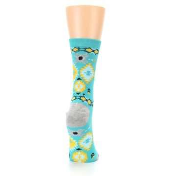 Image of Teal Yellow Grey Patterned Women's Dress Socks (side-1-back-20)