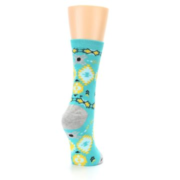 Image of Teal Yellow Grey Patterned Women's Dress Socks (side-1-back-21)