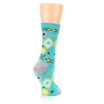 Image of Teal Yellow Grey Patterned Women's Dress Socks (side-1-back-22)