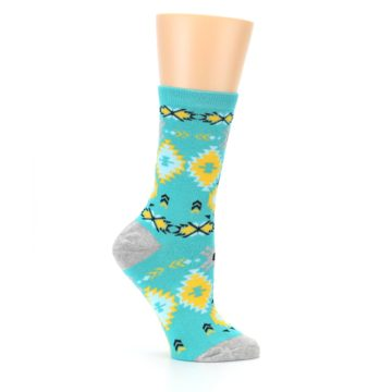 Image of Teal Yellow Grey Patterned Women's Dress Socks (side-1-25)