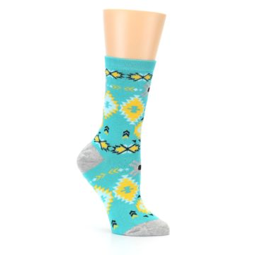 Image of Teal Yellow Grey Patterned Women's Dress Socks (side-1-26)