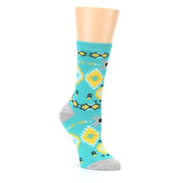 Image of Teal Yellow Grey Patterned Women's Dress Socks (side-1-27)