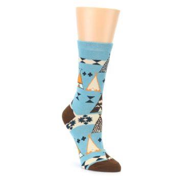 Blue Brown Diamond Pattern Womens Dress Socks Sock It Up