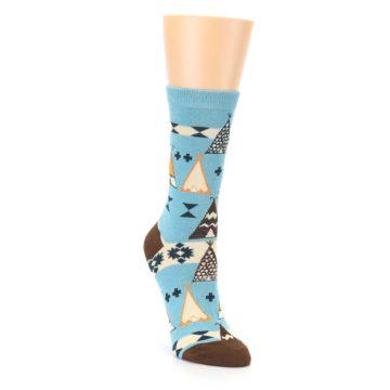 Image of Blue Brown Diamond Pattern Women's Dress Socks (side-1-front-02)