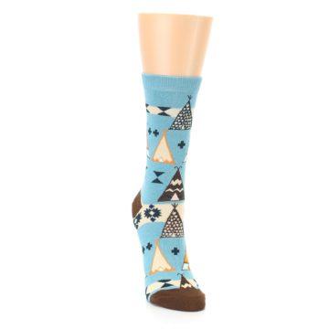 Image of Blue Brown Diamond Pattern Women's Dress Socks (side-1-front-03)