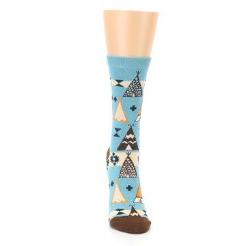 Image of Blue Brown Diamond Pattern Women's Dress Socks (front-04)