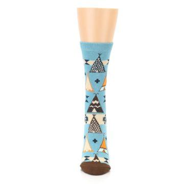 Image of Blue Brown Diamond Pattern Women's Dress Socks (front-05)