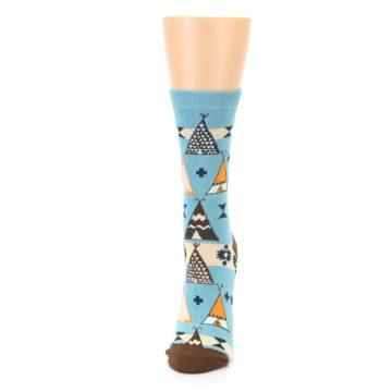 Image of Blue Brown Diamond Pattern Women's Dress Socks (side-2-front-06)