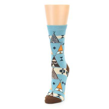 Image of Blue Brown Diamond Pattern Women's Dress Socks (side-2-front-07)