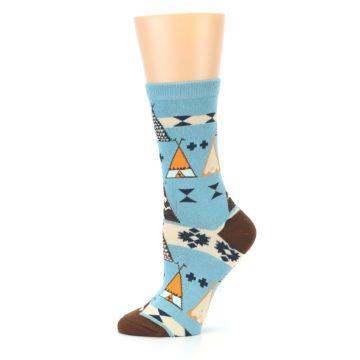 Image of Blue Brown Diamond Pattern Women's Dress Socks (side-2-11)