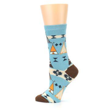 Image of Blue Brown Diamond Pattern Women's Dress Socks (side-2-12)