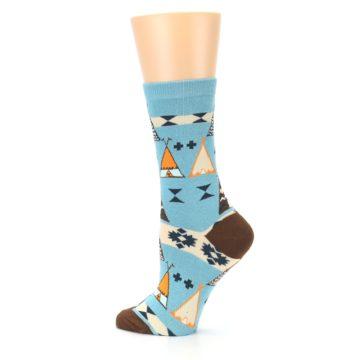 Image of Blue Brown Diamond Pattern Women's Dress Socks (side-2-13)