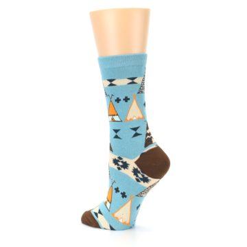 Image of Blue Brown Diamond Pattern Women's Dress Socks (side-2-back-14)